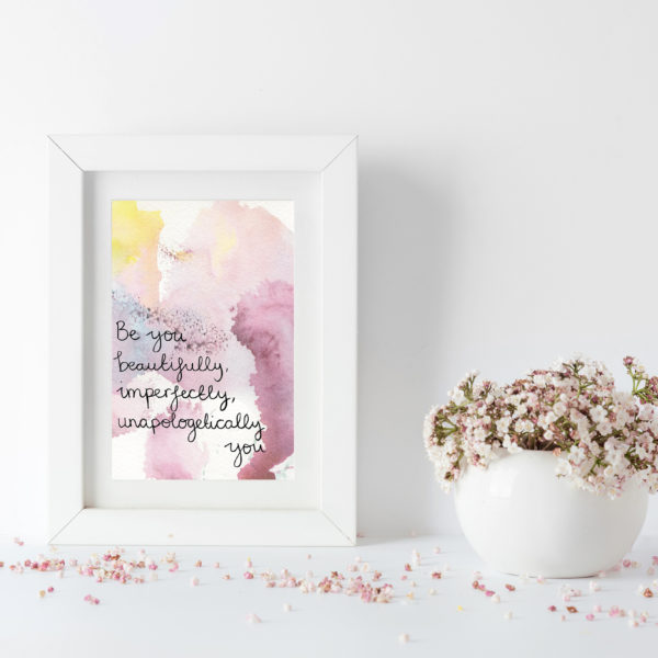Pink and pastel coloured watercolour postcard encouraging you to be you
