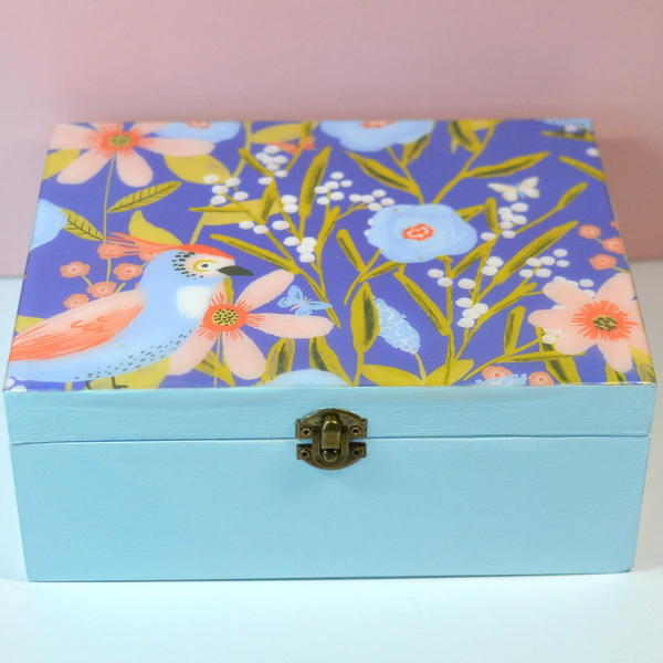 Duck egg blue wooden keepsake box with stunning bird and floral design in periwinkle blue.