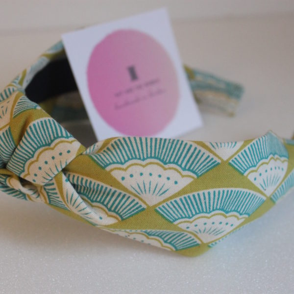 Handmade knotted headband in Japanese fabric with turquoise and lime fan print