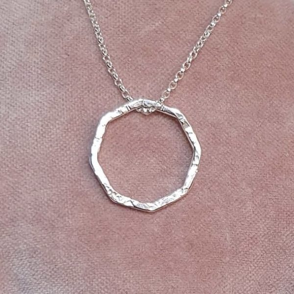 Tactile textured sterling silver octagonal pendant