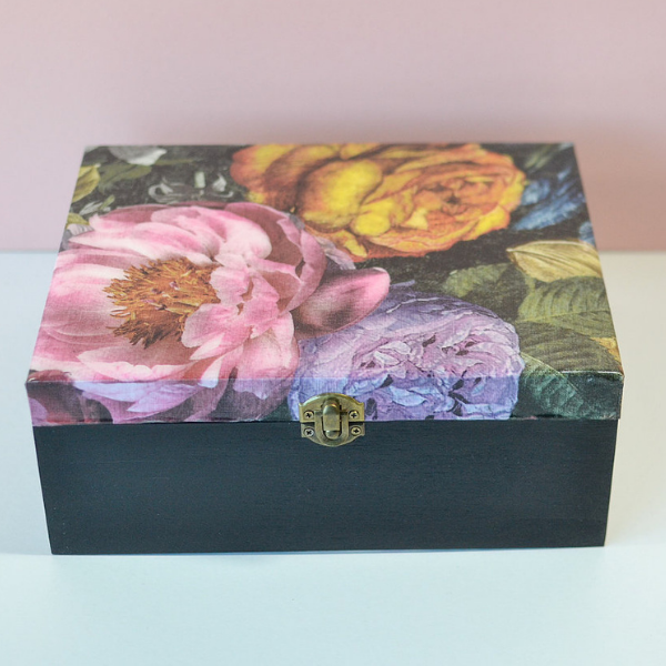 Wooden keepsake box with dark floral lid, resin top.