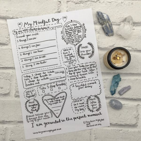 My Mindful Day Printable Planner to encourage mindful moments