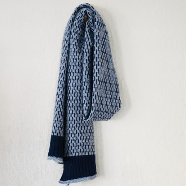 Scarf - super soft merino lambswool Nordic scarf in marled blue and silver grey