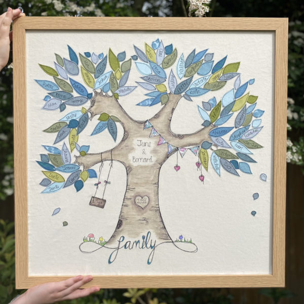 Personalised textile family tree