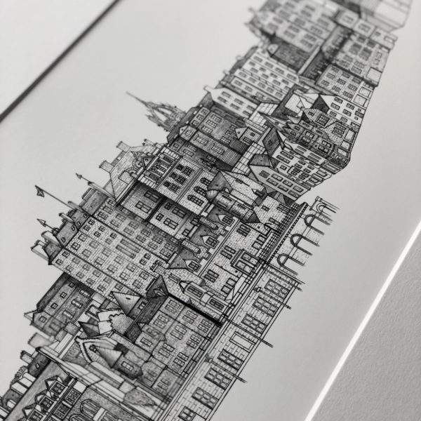 Architectural drawing of buildings in Edinburgh City