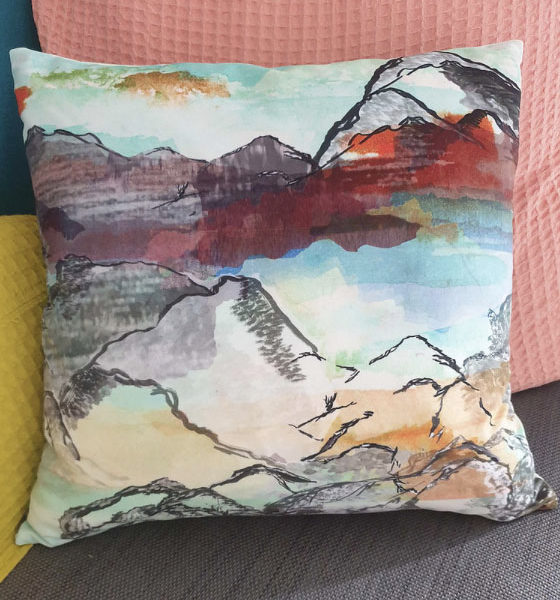 Velvet Cushion double sided.   Working with the inspiration of overlooking the scenery across the Hunan Province, the mountainous landscape and have your senses over load as the sun sets over the scenery.
