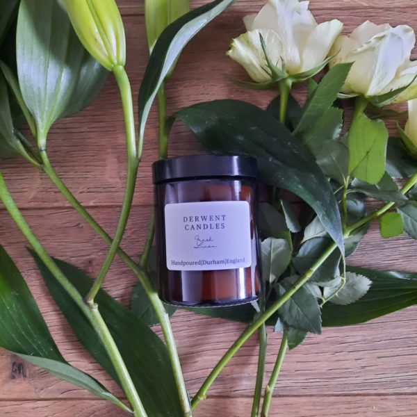 Amber glass 180ml hand-poured candle in fragrance Fresh Cut Flowers
