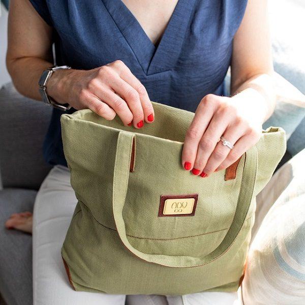 classic cotton canvas tote handbag  bag in lemongrass green
