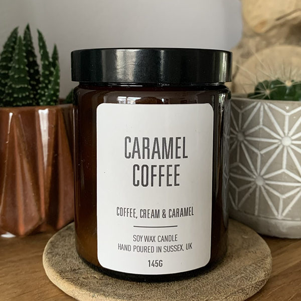 Handmade Caramel Coffee Scented Soy Wax Candle in Amber Jar with lid
