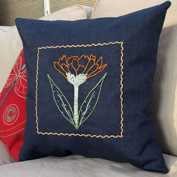 Blue Linen Cushion hand embroidered with Flower.