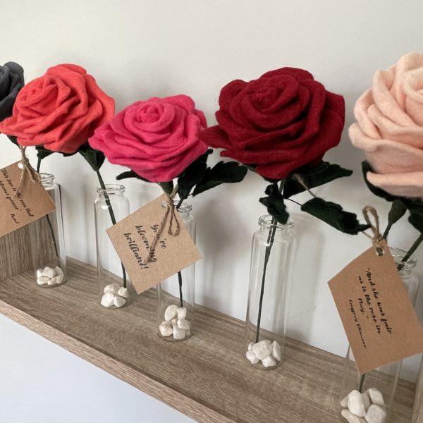 handmade everlasting felt rose. Each petal has been individually created by hand meaning every rose is unique. You chose your colour to make a special personalised gift.