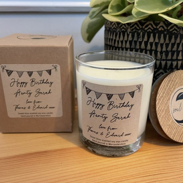 Personalised handmade scented soy wax candle in our popular Sweet Bliss scent. Lots of other scents available to choose from with new ones released seasonally