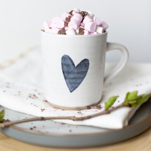 ceramic mug blue and white