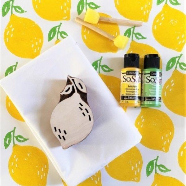 Block Print Kit- Sunny Yellow Lemon Tea Towel Block Print Kit- Sunny Yellow Lemon Tea Towels