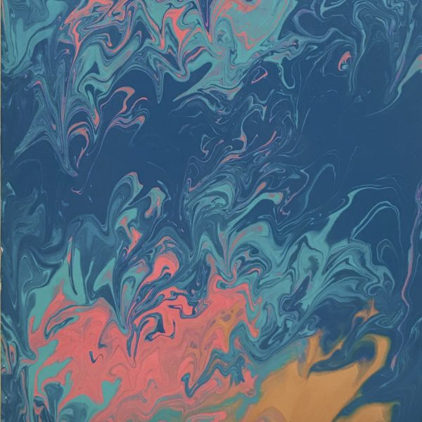 Blue, pink and gold original acrylic pouring  artwork on canvas made by me.