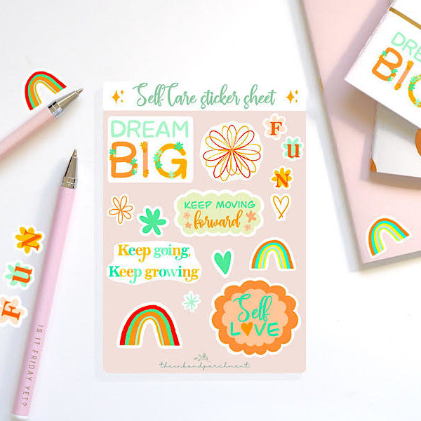 Vibrant coloured stickers with positive/self care sayings