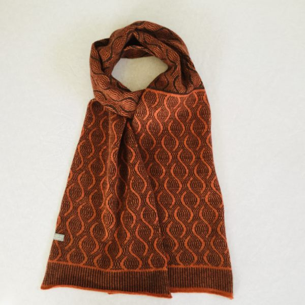 Scarf - soft merino lambswool scarf in hickory brown and ember orange