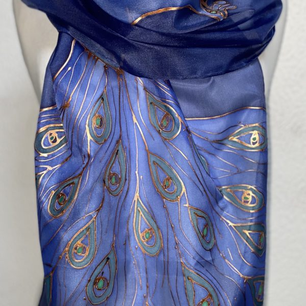Peacock Design hand painted silk scarf
