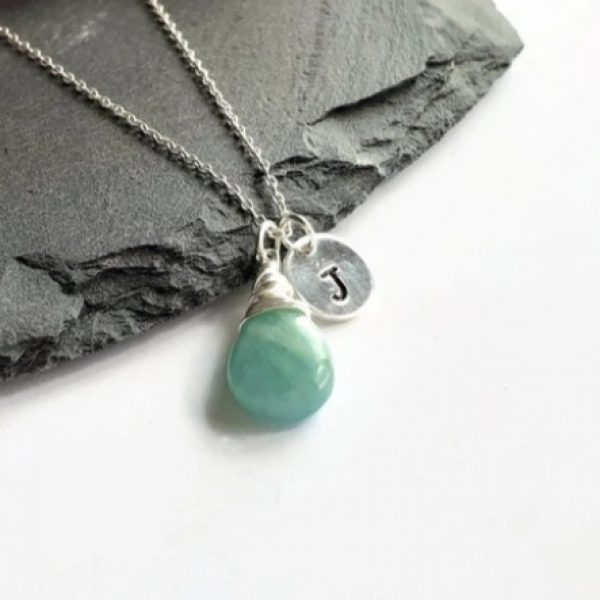 Personalised Sterling Silver Wire Wrapped Amazonite Gemstone Necklace