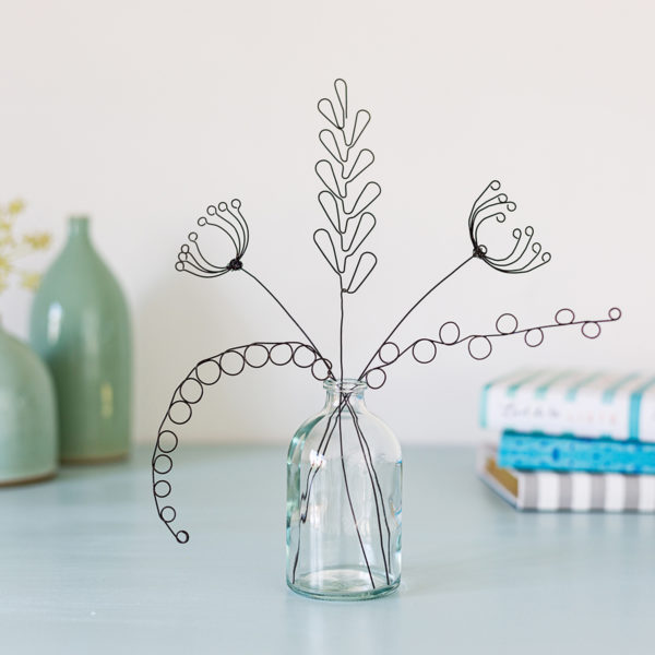 Handmade wire hedgerow inspired flowers by Judith Brown