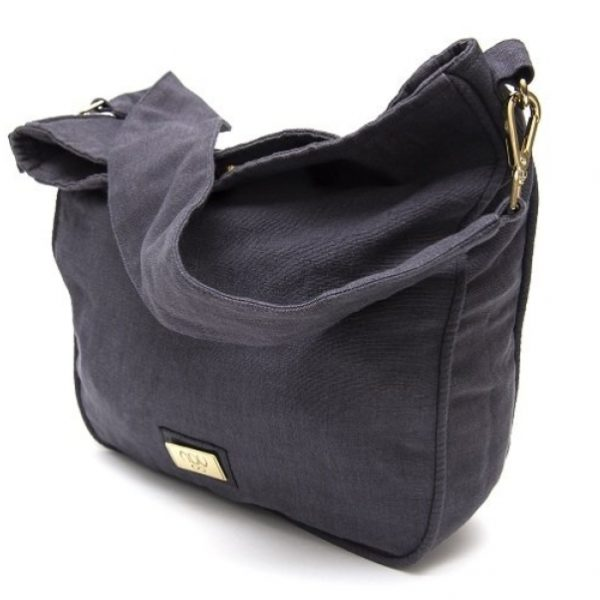 A large, crescent-shaped Hobo-style bag with a wide shoulder strap